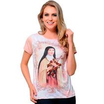Linda Camiseta De Santa Terezinha -camisa Bordada Com Pedras
