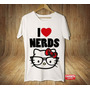 Camisa Camiseta Masculina Kitty Nerds Geek Love Cartoon