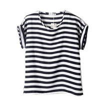 Camisa Blusa Listras Preta E Branca Feminina Chiffon