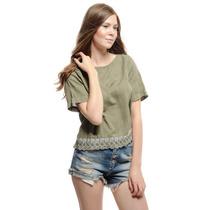 Blusa Feminino Renda Detalhado - Crop Blouse With Lace