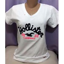 Kit C/ 3 Camisetas Gola V Feminina Hollister R$ 70,00