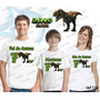 Kit Camiseta Dinossauro Aniversario Festa Kit Com 3