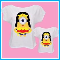 Blusa Camiseta Tal Mãe Tal Filha Minions Mulher Maravilha