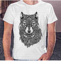 Camisa Estampa Masculina Lobo Penas E Tatuagens