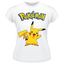 Baby Look Pokemon Pikachu Anime Desenho Camiseta Feminina