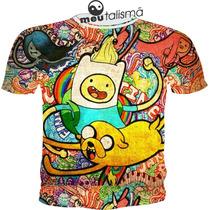 Camiseta Ou Baby Look Adventure Time Psicodélica
