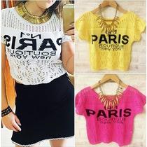 Atacado Com 10 Blusas Paris Cropped Crochet Trico Verão