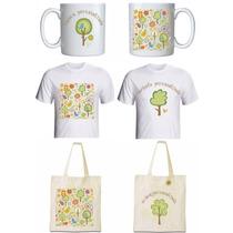 Kit Coordenado Personalizado - Caneca, Camiseta & Ecobag