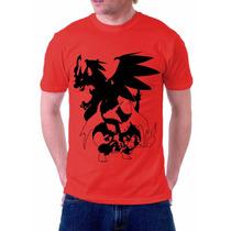 Camisa Camiseta Do Anime E Jogo Pokémon Charizard Charmander