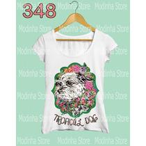 Camiseta Blusa Tshirt Feminina Estampa Tropical Dog Cachorro