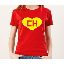Camiseta Feminina Baby Look Chapolin Colorado 100% Algodão