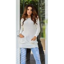 Blusa Feminina - Vestileg Lã Tricot Grosso Com Bolso