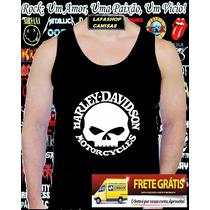Camiseta Regata Harley Davidson Camisa Caveira Moto Usa