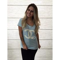 Camiseta Feminina Malha Estampa Chanel Bordada Pérolas Luxo