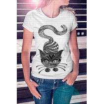 Camisa Estampa Feminina Gato Mandala