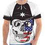 Camiseta Camisa Caveira Estados Unidos Skull Cawboy Chapéu 1