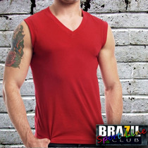 Camiseta Machão - Sem Manga Gola V - 100% Algodão