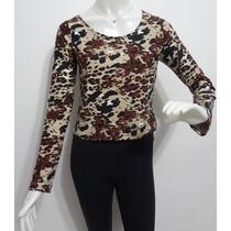 Blusa Feminina Cropped Top Academia Camuflada Exército