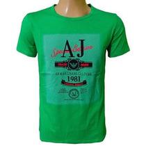Camiseta Armani Camisa Gola Careca Verde Original