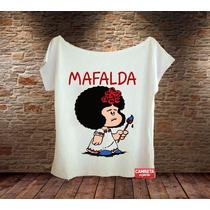 Camiseta Feminina Gola Canoa Mafalda Basta Frida Kahlo Hq