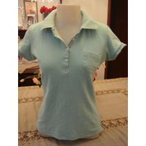 Blusa Camisa Gola Polo Verde Botoes Tam. M