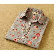 Blusa Social Feminina/camisa Manga Longa Estampada - P/ Entr