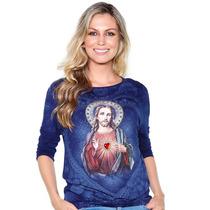 Blusa Sagrado Coração De Jesus-bordada - Ágape