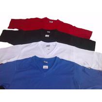 Camiseta Gola V Algodão Branca Preta Sublimação Lisa Azul