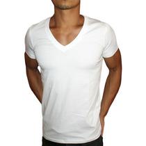 Camisa Gola V Masculina Manga Curta Viscose Com Elastano