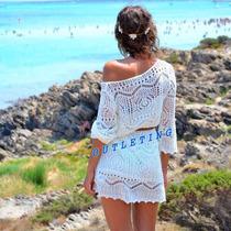 Vestido Saída Praia Crochê Renda Gripir Importada No Brasil