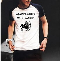 Camiseta Raglan Manga Curta Acampamento Meio-sangue Percy