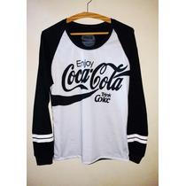 T-shirt Feminina Coca Cola Manga Longa Blusa Swag Style