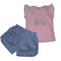 Conjunto Infantil De Blusa Cotton Rosa Com Short De Poá