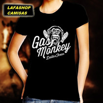 Camiseta Gas Monkey Camisa Baby Look Feminina Mulheres Mocas