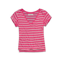 Abercrombie Camisetas Listrada Rosa Tamanho P