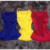 Blusa Importada Azul Cetim Detalhe Renda Pronta Entrega