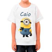 Camiseta Minions Com Nome Infantil Meu Malvado Favorito