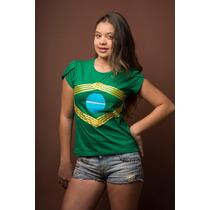 Camiseta 1/2 Malha Aplique Fita De Cetim, Com Embalagem.