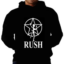 Blusa Moletom Rush Capuz Bolso Banda Rock Moletons Camisetas