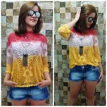 Blusa Cropped Top Renda Croche Saida De Praia Panicat 2016