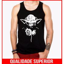 Camiseta Regata Masculina Star Wars Mestre Yoda Dj Camisa