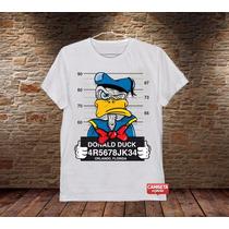 Camiseta Masculina Pato Donald Suspeito Engraçada Divertida