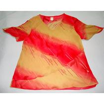 Blusa Feminina Vermelha E Amarelo Escuro - Transparente