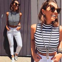 Cropped Gola Alta Top Blusa Moda Blogueira Várias Cores