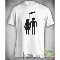 Camiseta Casal Nota Musical Rock Música 100% Poliéster #1138