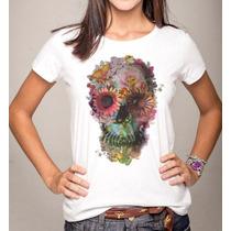 Blusa T-shirt Caveira De Flores