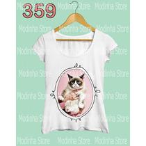 Camiseta Blusa Tshirt Feminina Estampa Gato Mal Humor Cat