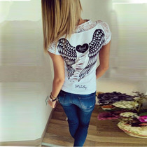 Camiseta Blusa Asas Renda Feminina Rock Pronta Entrega