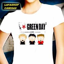 Camiseta Green Day Camisa Baby Look South Park Mulher Bandas