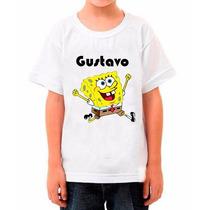 Camiseta Infantil Bob Esponja Com Nome Da Criança